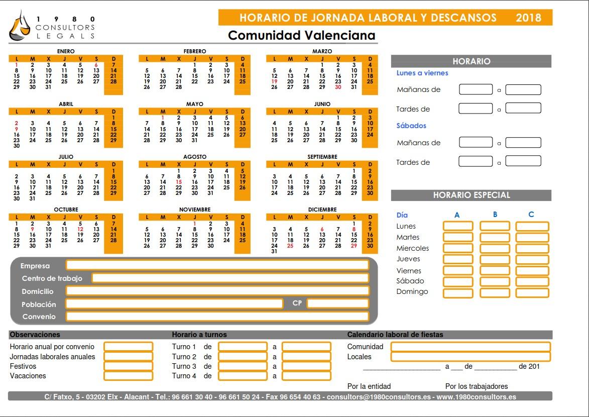 Calendario Laboral Elche.Asesoria Laboral